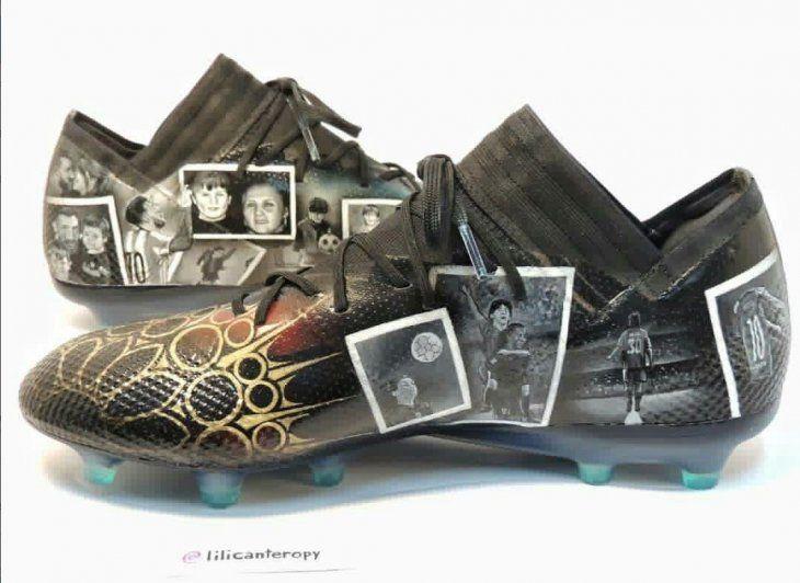 Uno de los botines personalizados por Lili Cantero para Lionel Messi.