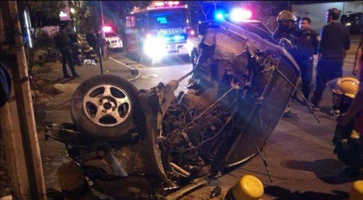 Así quedó el auto guiado por la víctima.