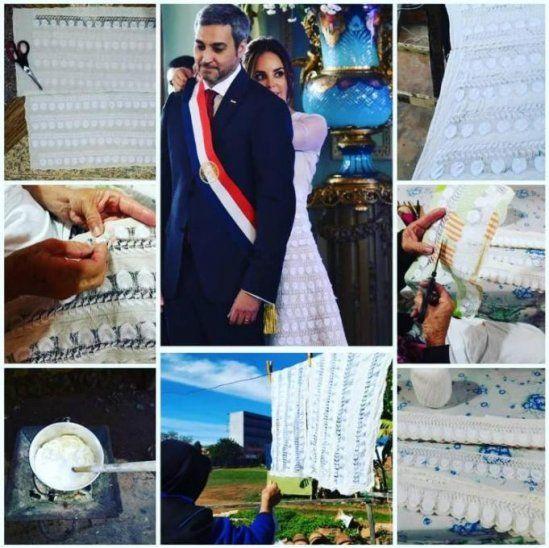 Bianca Benegas publicó un collage de fotos de los trabajos de confección del vestido de ñanduti de la primera dama. Tardaron varios días