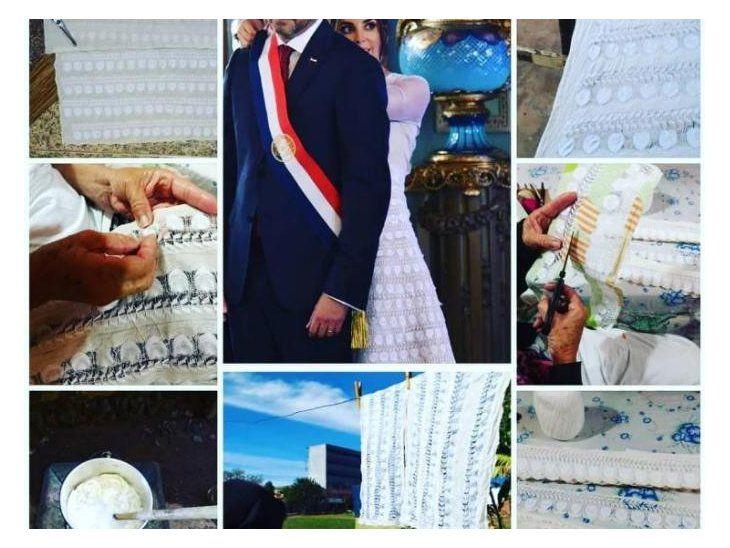 Bianca Benegas publicó un collage de fotos de los trabajos de confección del vestido de ñanduti de la primera dama. Tardaron varios días, aseguró.
