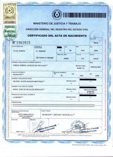 Certificado de acta de nacimiento.