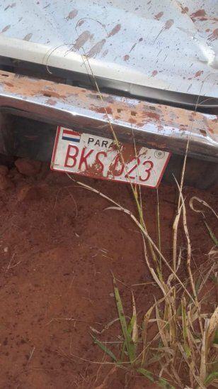 Matrícula de la camioneta en que iban las víctimas