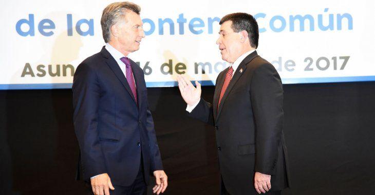 Horacio Cartes con el presidente argentino Mauricio Macri. Foto: archivo UH