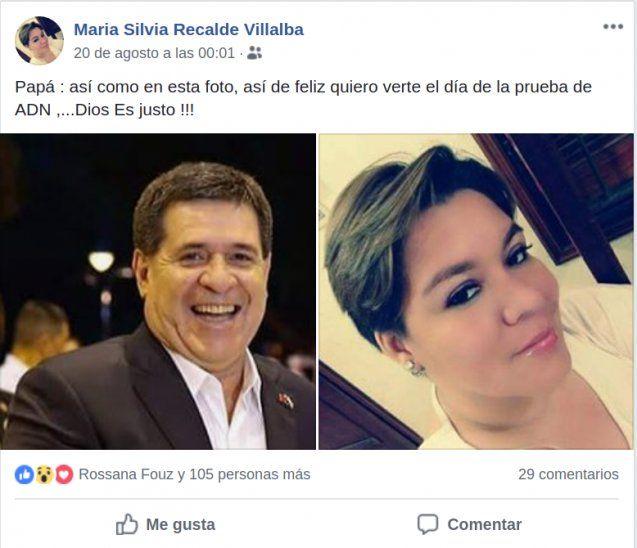 María Silvia Recalde (35) usó su cuenta de Facebook para mencionar que está segura que es hija del expresidente. Adelantó que lo demandará para exigirle el ADN.