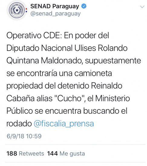 El tuit del escándalo ya no aparece en la cuenta de la SENAD. Al parecer fue removido:https://twitter.com/senad_paraguay/status/1037716829458849793?s=12