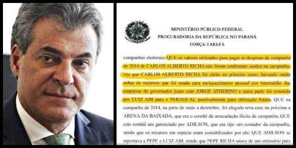 Fascímil del relato que compromete al gobernador de Paraná
