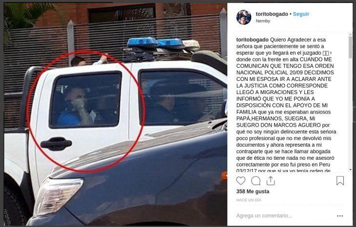 Torito Bogado fue tratado de preso kue por su exabogada