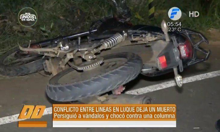 Así quedó la moto tras el accidente