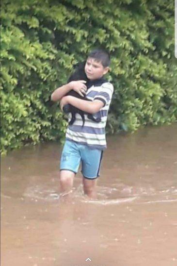 Cruzó el agua para salvar a su mascota