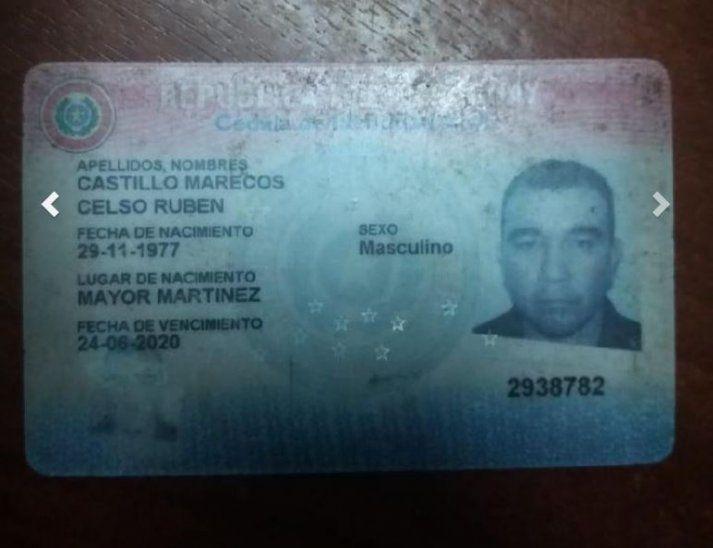 Cédula de identidad del detenido.