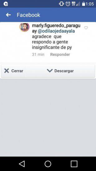 Marly respondió a los insignificantes de Paraguay