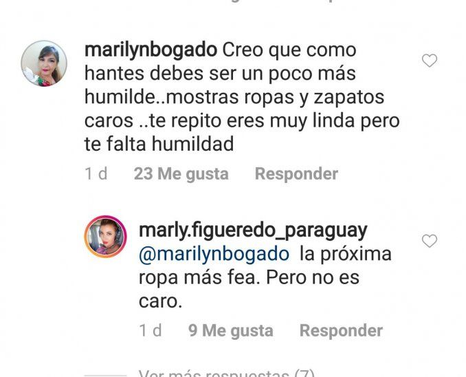 Marly se puso a insultar a internautas