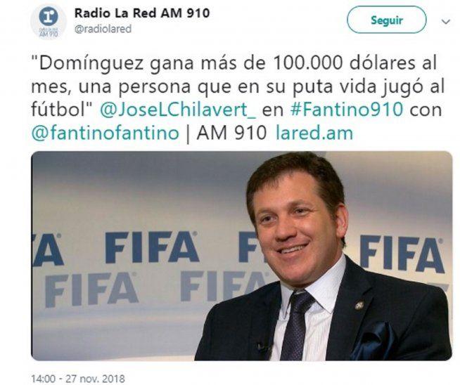 Chilavert: Domínguez gana US$ 100.000 al mes en la Conmebol