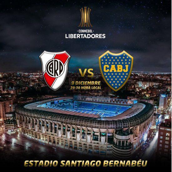 Ya empezó la promoción de final de la Copa Libertadores en el estadio Santiago Bernabeu (Foto: @CONMEBOL).