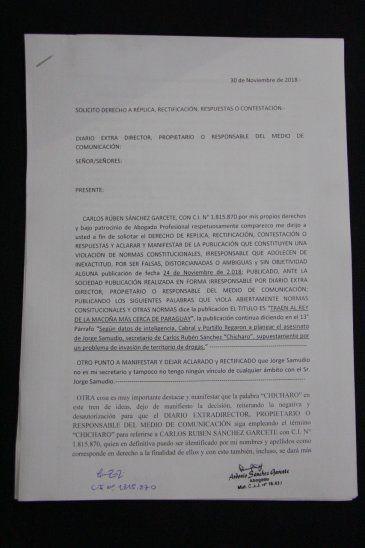 Carlos Sánchez niega a supuesto secretario narco