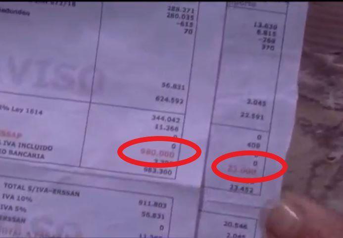 La factura de Ña Leo aumentó de G. 23.000 a G. 980.000.