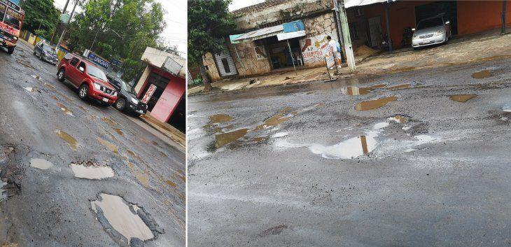 Las denuncias contra el lamentable estado de las calles de San Lorenzo son constantes (Fotos: @HYPERFEDEX).
