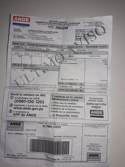 En esta factura Doña Blanca ya adeudaba más de G. 6 millones.