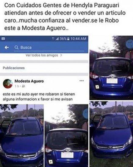 Doña ofreció vehículo por Facebook y supuestos compradores le robaron