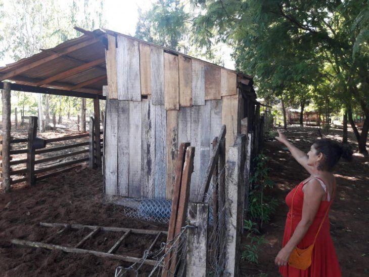 Tejido de alambre. El patio de ña María está separado con un tejido
