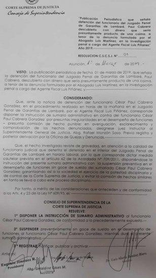 Detienen a funcionario judicial de Lambaré por coimear