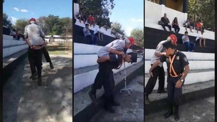 Policía cargó a abuelito olimpista hasta las gradas en Itauguá