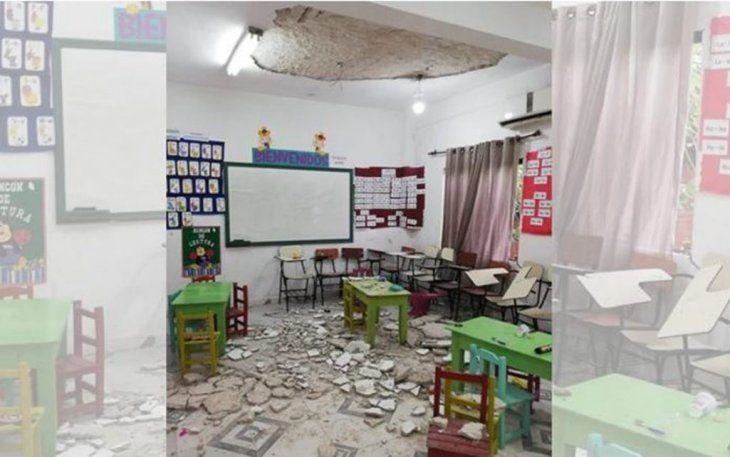Cayó el cielo raso del aula del Jardín de infantes.