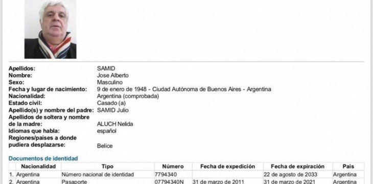 Interpol lanzó su alerta roja para buscar a Alberto Samid.
