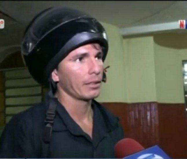 Lucas López Pacheco quedó con algunos golpes en el rostro y en la pierna