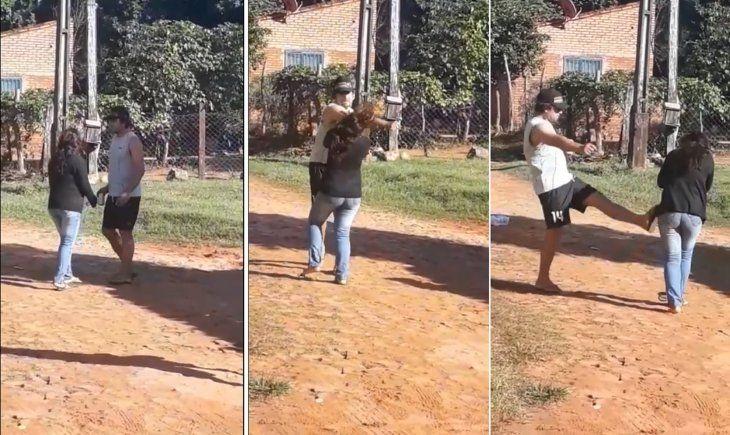 Secuencia de la agresión que sufrió la mujer; en el centro se ve el momento en que recibió el puñetazo en pleno rostro (Captura de video de Luque te queremos limpia-Facebook).