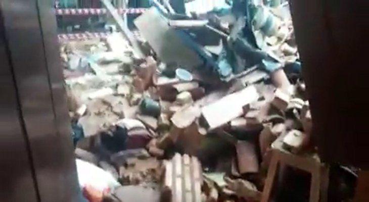 Destrozos. Cayeron paredes y el techo