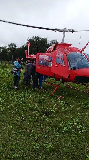 Helicóptero de la Secretaría de Emergencia Nacional la trasladó.