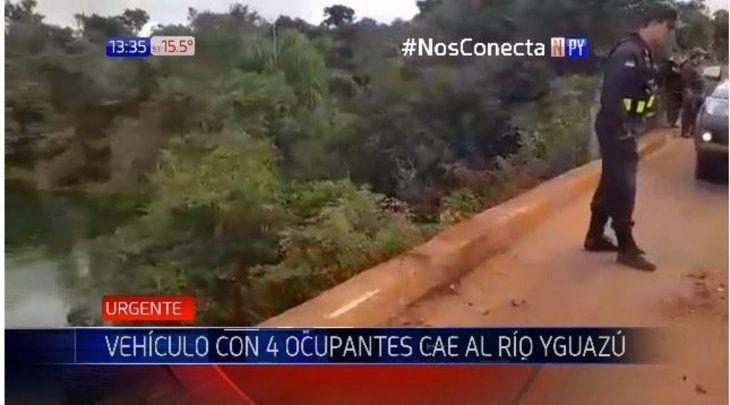 Un vehículo cayó al río Yguazú tras chocar contra la valla de seguridad