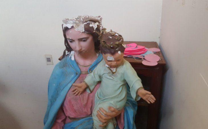 Así había quedado María Auxiliadora tras la caída.