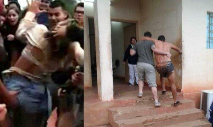 Dos de las imágenes que se hicieron viral del bautismo de los bichos