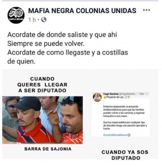 La imagen fue publicada en las distintas redes sociales de las barras del Club Olimpia.
