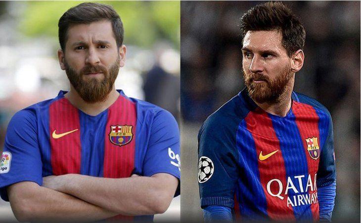 Reza Parastesh (izq.) junto al astro Lionel Messi