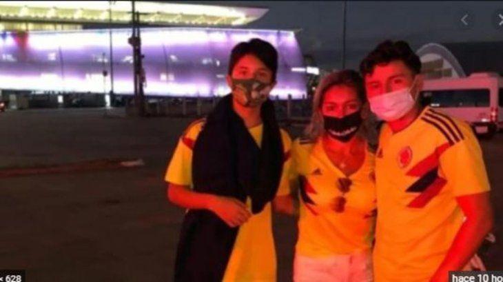 Los Calderón fueron a alentar a Colombia en Cuiabá desconociendo que no se permite el ingreso de hinchas en la Copa América.
