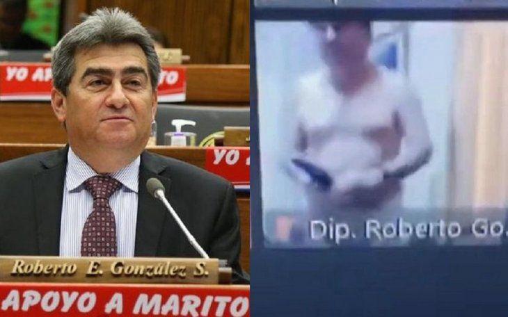 El antecedente mediático más reciente del diputado Roberto González es la polémica que generó al aparecer semidesnudo en una sesión de la Cámara Baja que se desarrolló de forma virtual. Su excusa fue que se le derramó el tereré.