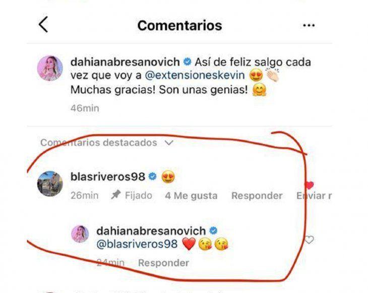 El futbolista Blas Riveros sorprendió al enviarle un emoji romántico en Instagram a Dahiana Bresanovich