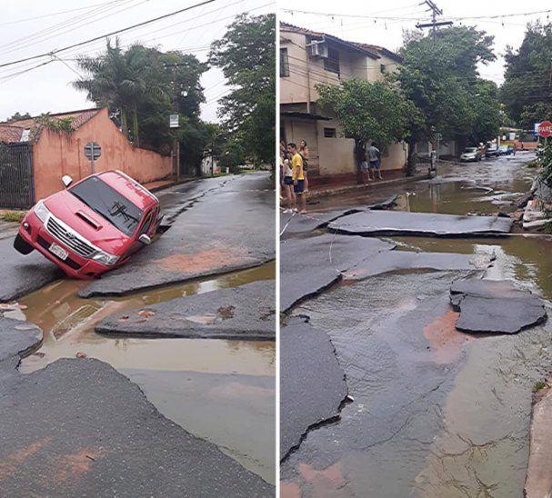 En San Lorenzo así de dañado quedó el asfaltado.