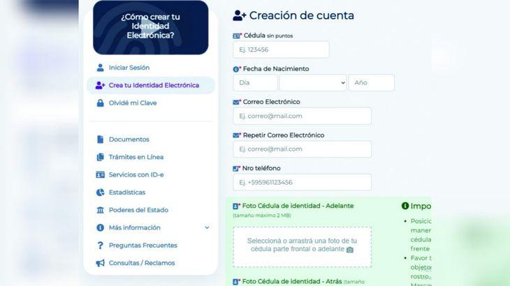 En la web: www.paraguay.gov.py se podrá realizar la solicitud de Identidad Electrónica totalmente gratuita.