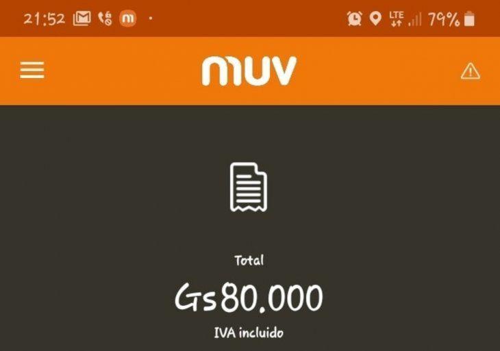 La tarifa era de G. 80.000